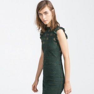 Zara Woman Emerald Lace Midi Dress Size Medium